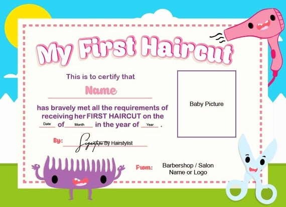 First Haircut Certificate Template Elegant First Haircut Certificate Baby Haircut Certificate 8x11
