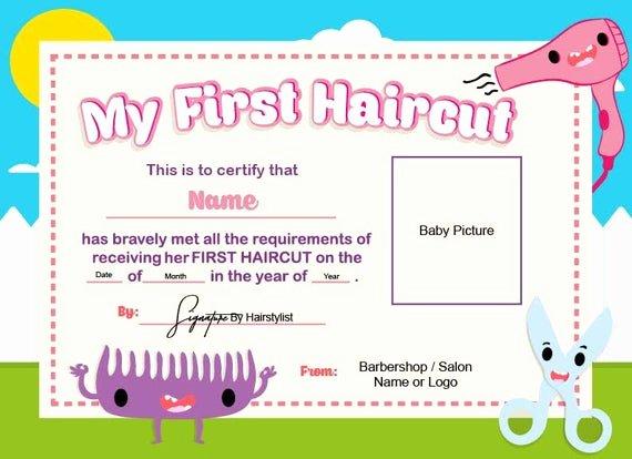 First Haircut Certificate Template Elegant First Haircut Certificate Baby Haircut Certificate 8x11