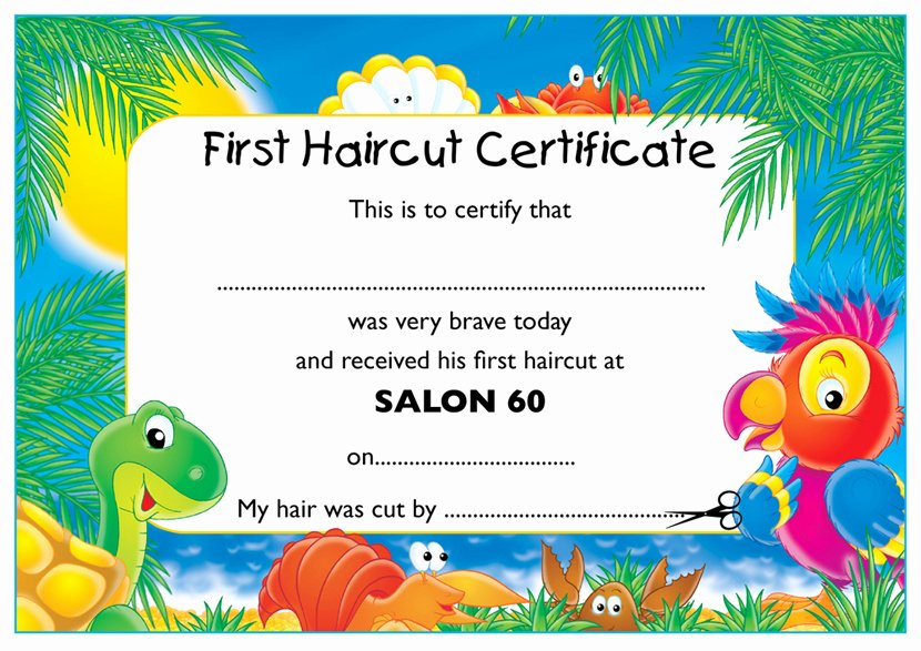 First Haircut Certificate Template Lovely My First Haircut Certificate Haircuts Models Ideas