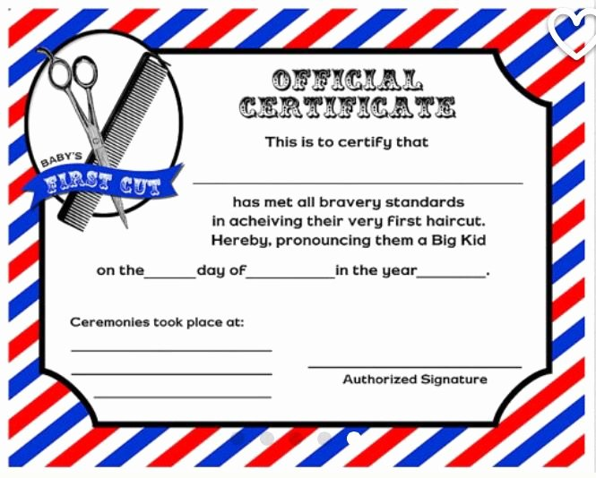 First Haircut Certificate Template Luxury First Haircut Certificate Barbersstop In 2019