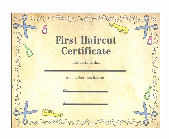 First Haircut Certificate Template New Baby S First Haircut Certificate Keepsake Laminated