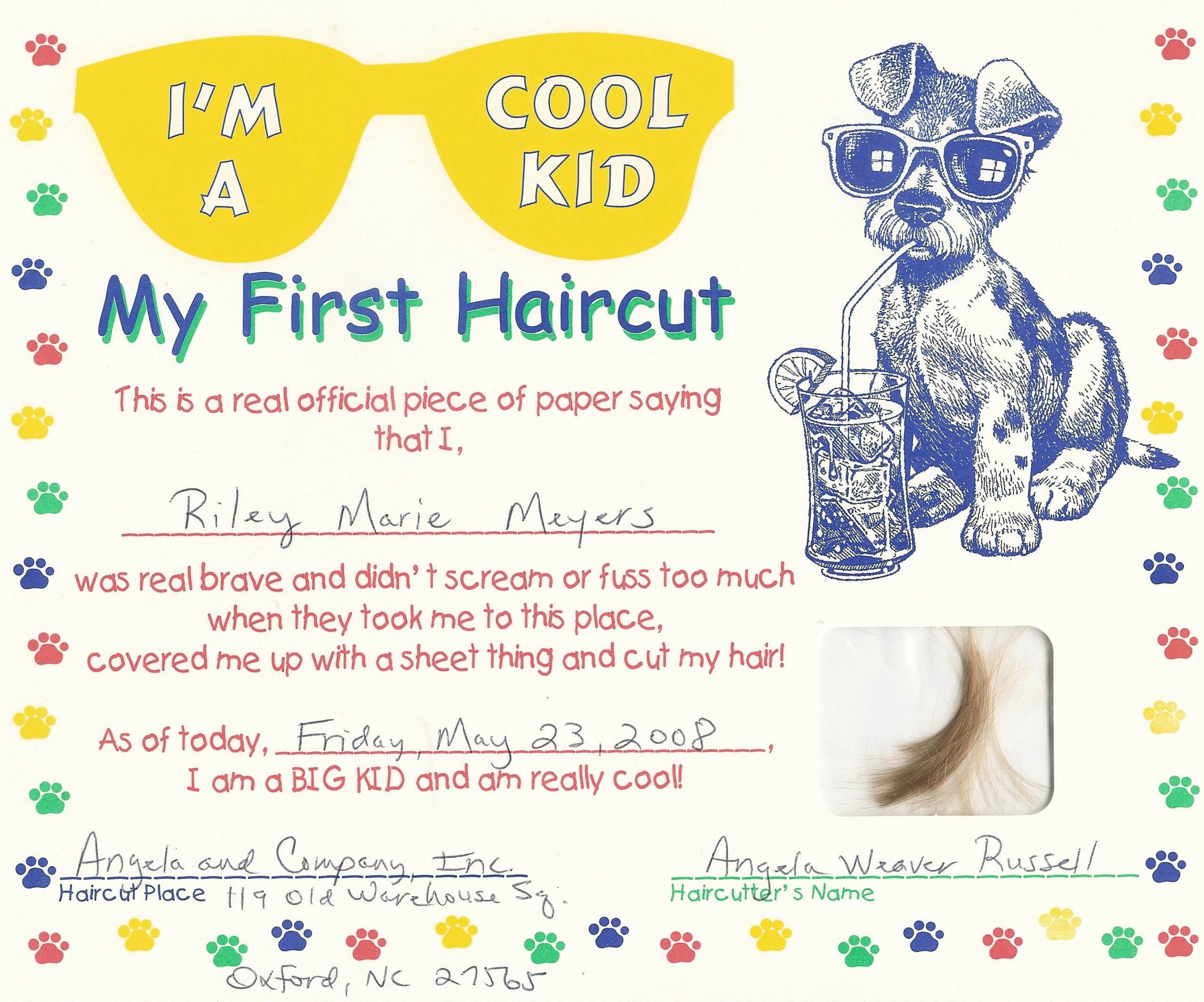 First Haircut Certificate Template New Free First Haircut Certificate Free My Cakepins Stuff Hair