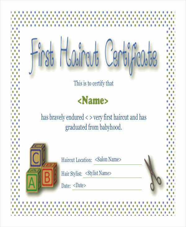 First Haircut Certificate Template Unique First Haircut Certificate Free Download Printable