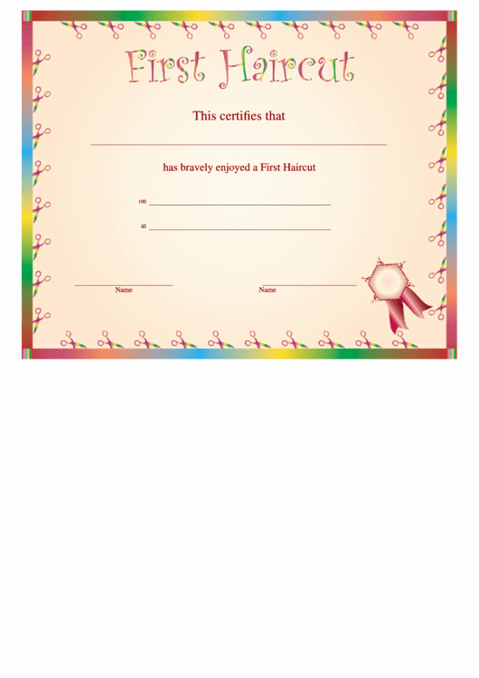 First Haircut Certificate Template Unique First Haircut Certificate Printable Pdf