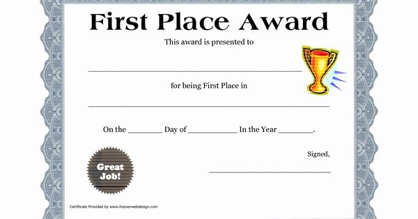 First Place Ribbon Printable Luxury Customizable Printable Certificates