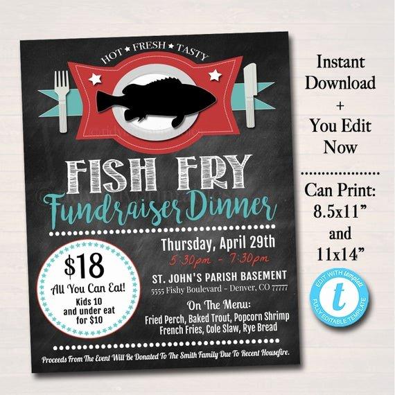 Fish Fry Flyer Examples Unique Editable Fish Fry Flyer Printable Pta Pto Flyer Benefit