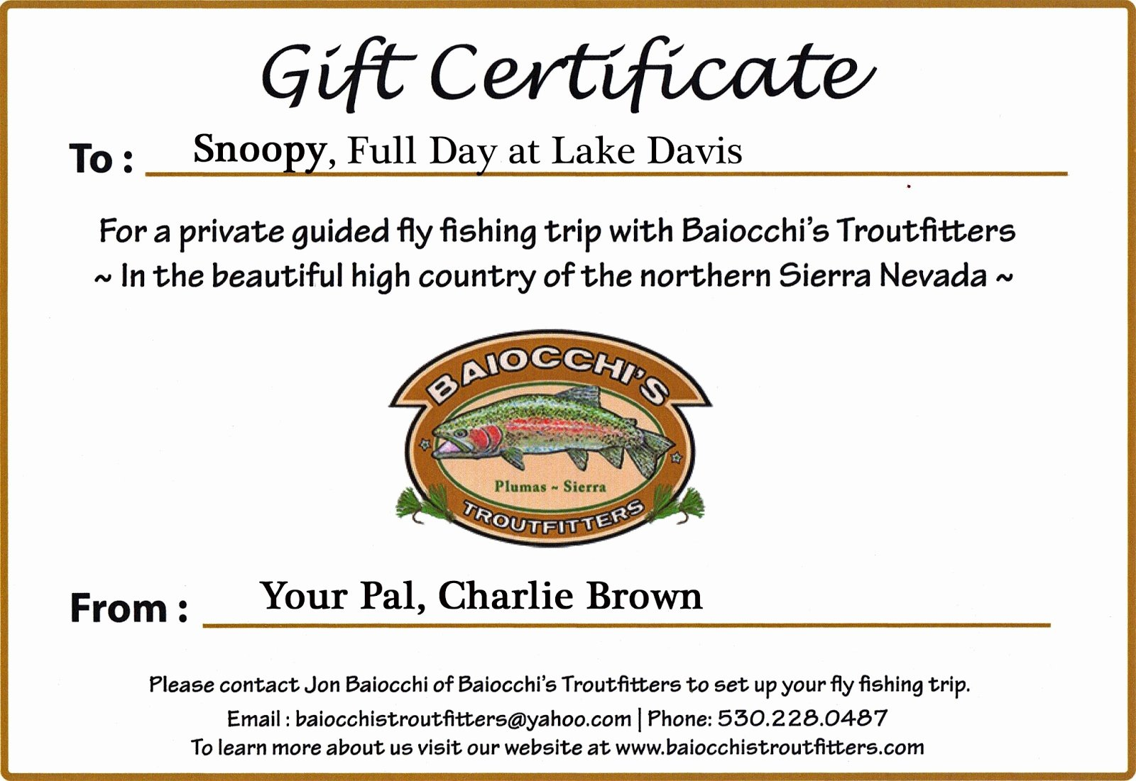 Fishing Gift Certificate Template Best Of Jon Baiocchi Fly Fishing News Baiocchi S Troutfitters