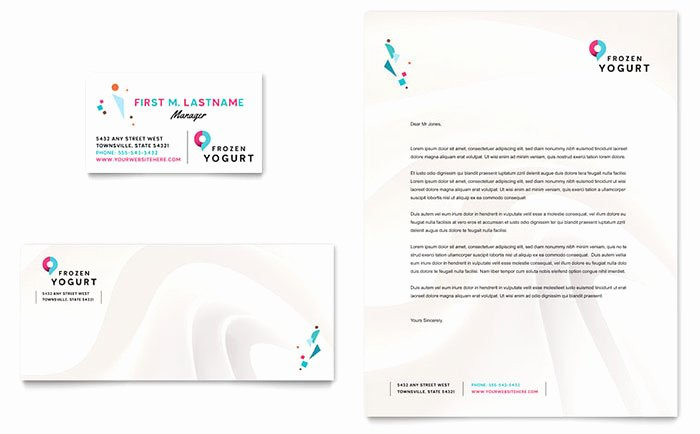 Fishing Gift Certificate Template Elegant Frozen Yogurt Shop Business Card & Letterhead Template Design