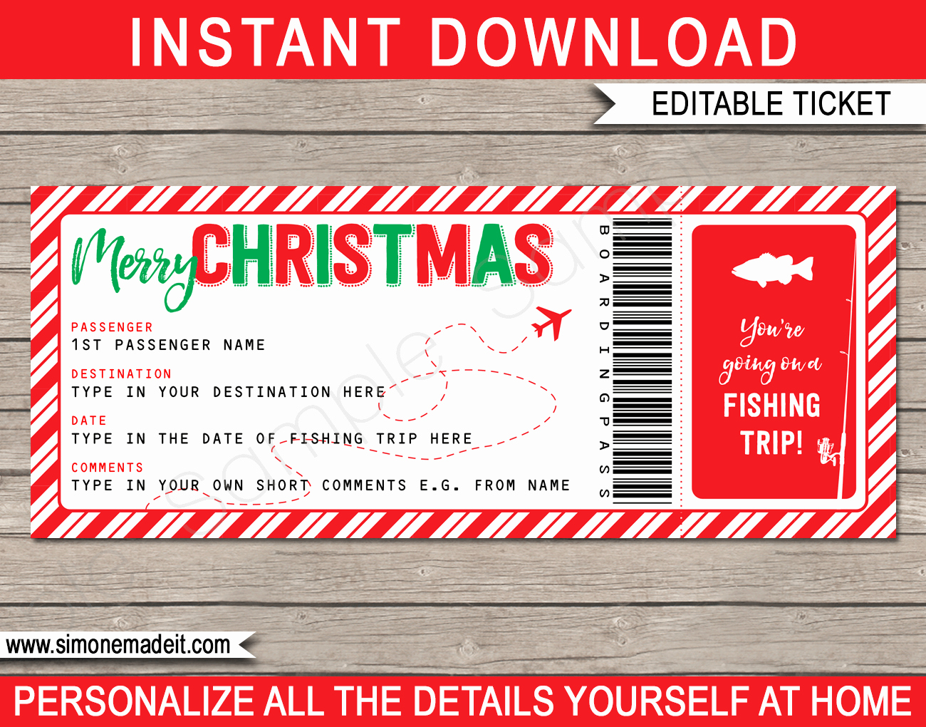 Fishing Gift Certificate Template Lovely Christmas Fishing Trip Boarding Pass Template – Red Green