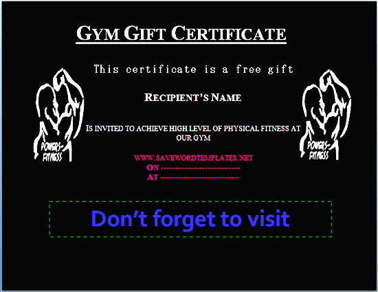 Fitness Gift Certificate Template New Health Gift Certificate Templates
