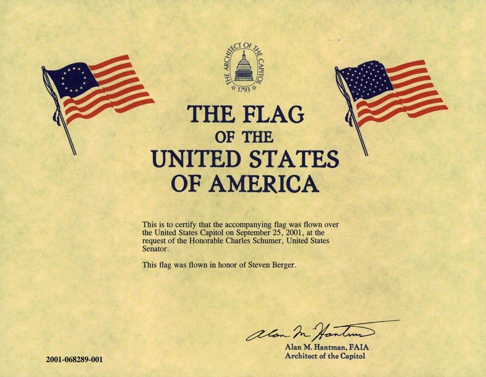 Flag Flying Certificate Template Best Of Steven Howard Berger