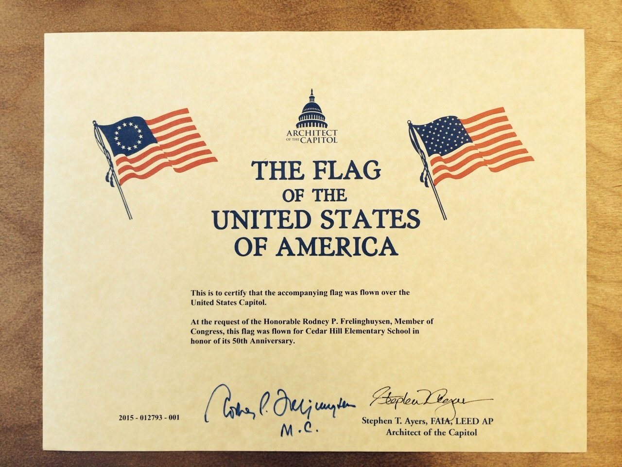 Flag Flying Certificate Template Lovely Flag Flown Over Us Capitol In Honor Of Cedar Hill S 50th