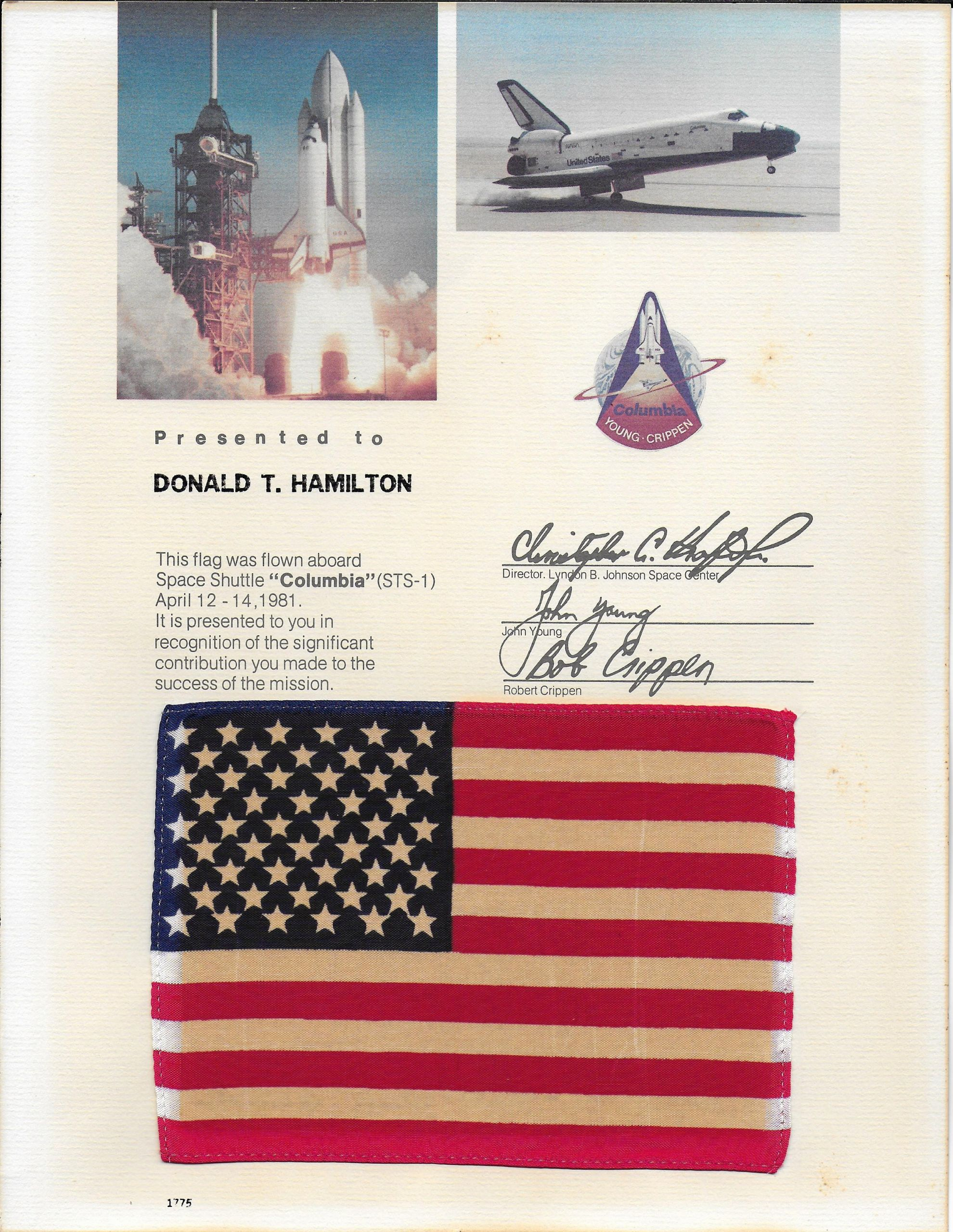 Flag Flying Certificate Template Lovely Sts 1 Space Shuttle Flown Us Flag On Certificate Sts1