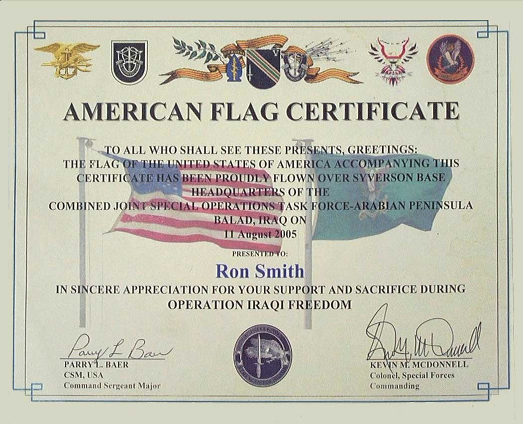 Flag Flying Certificate Template New Smith Enterprise • Smith Enterprises Special forces Flew