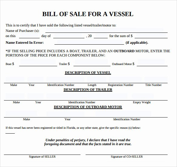 Florida Bill Of Sale for Trailer Best Of Sample Boat Bill Of Sale Template 7 Free Documents In