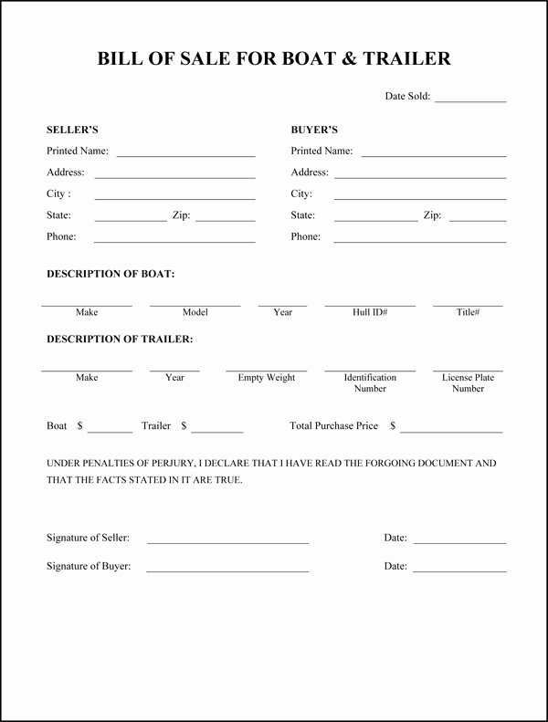 Florida Bill Of Sale for Trailer Inspirational Free Printable Rv Bill Of Sale form form Generic