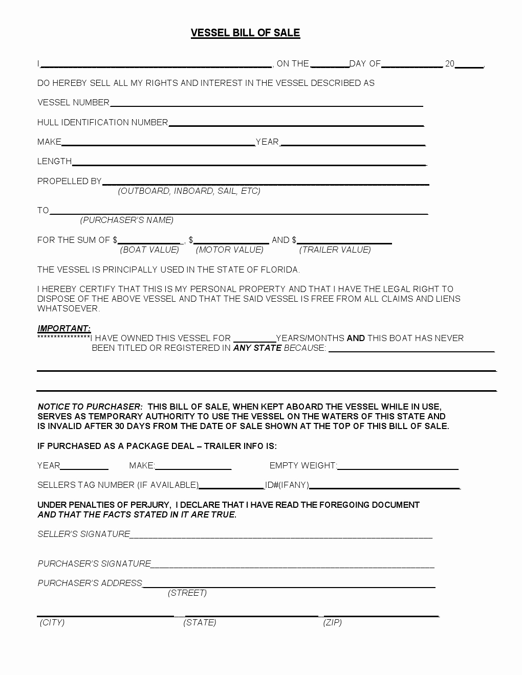 Florida Bill Of Sale for Trailer Lovely Free Florida Vessel Bill Of Sale form Download Pdf