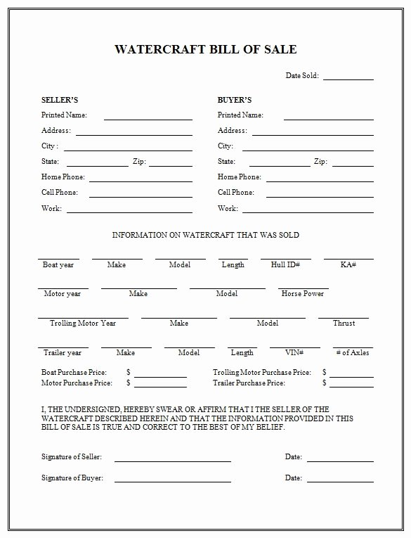Florida Bill Of Sale Trailer Awesome Free Printable Boat Bill Sale form Generic