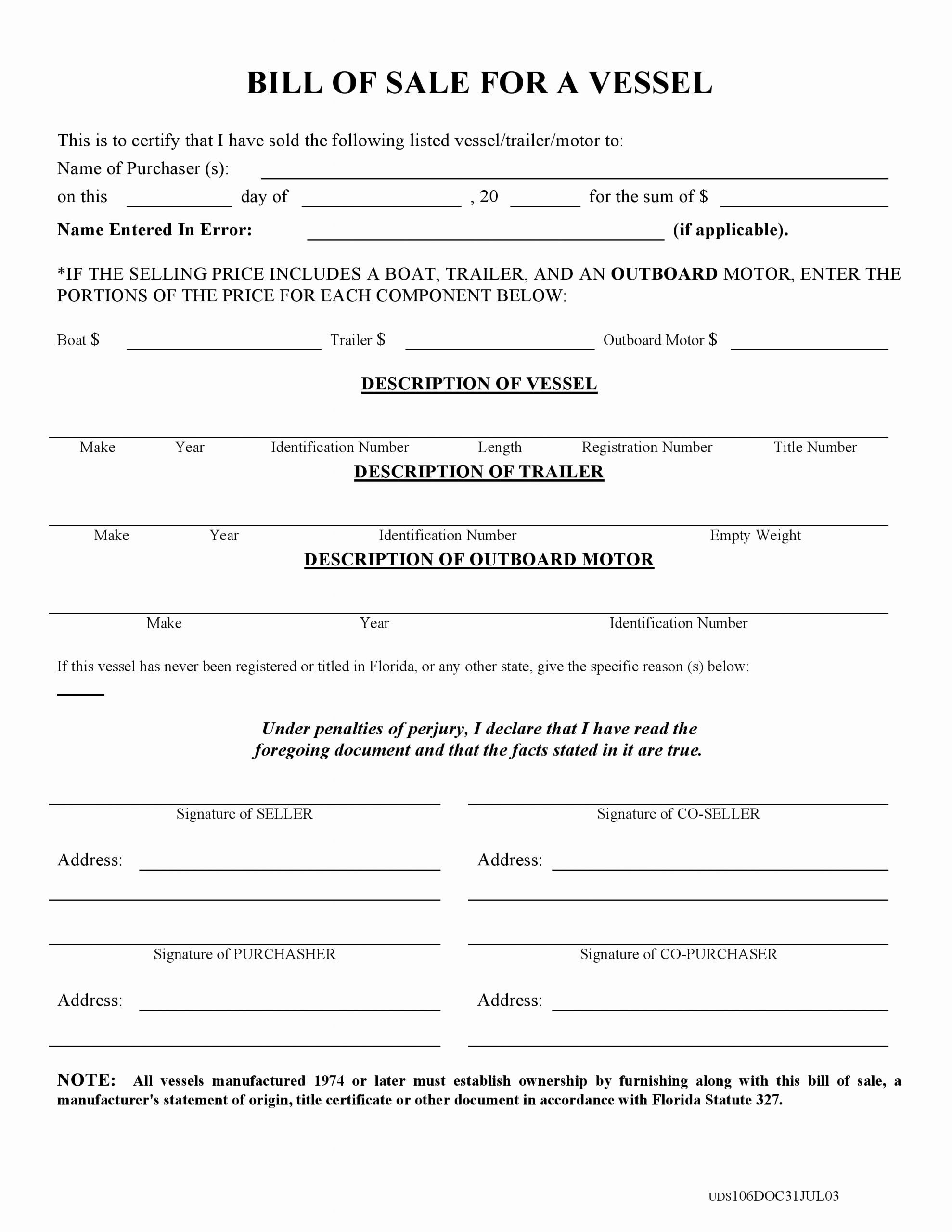 Florida Bill Of Sale Trailer Best Of Free Florida Boat Bill Of Sale form Pdf