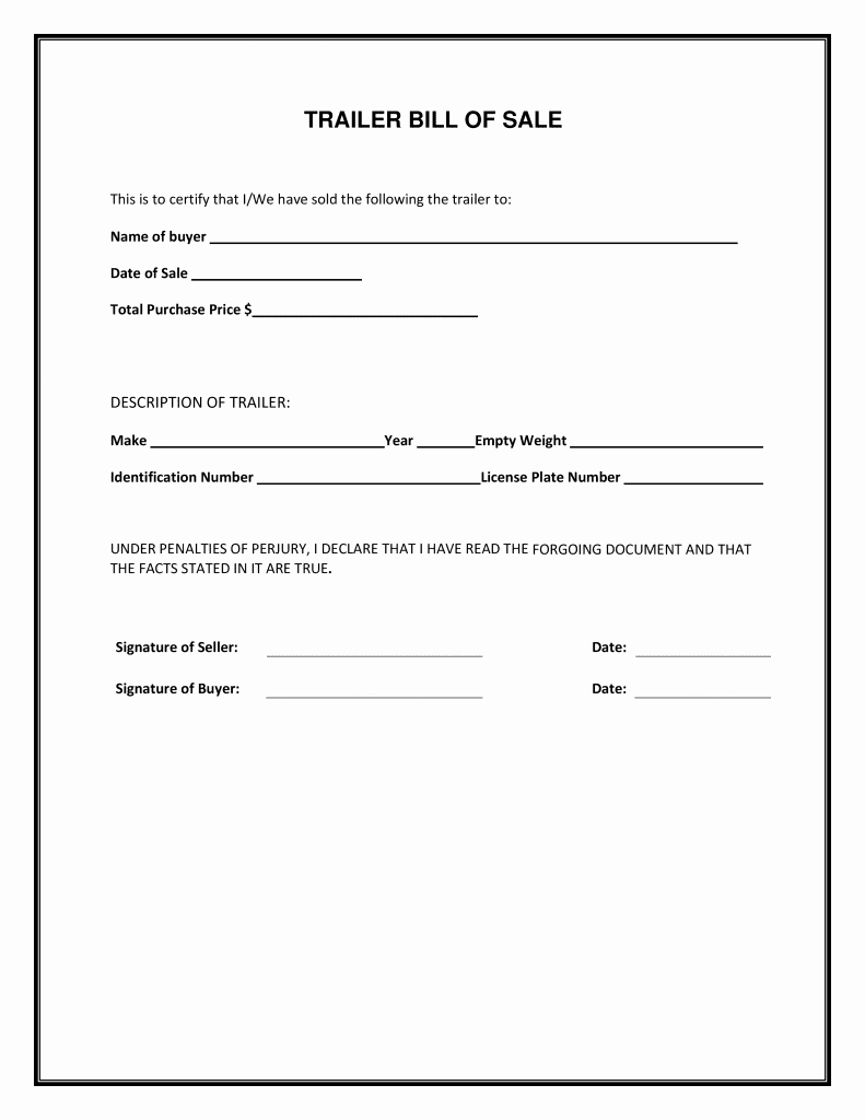 Florida Bill Of Sale Trailer Lovely Free Trailer Bill Of Sale form Pdf Template