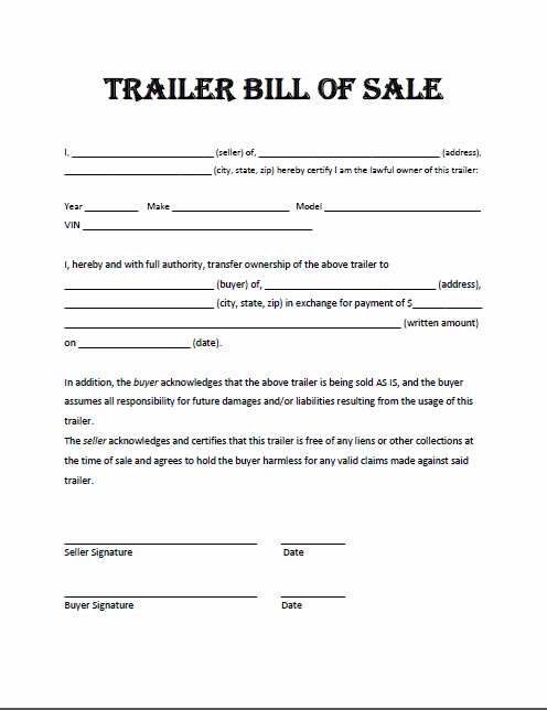 Florida Bill Of Sale Trailer New Free Printable Trailer Bill Of Sale All States F