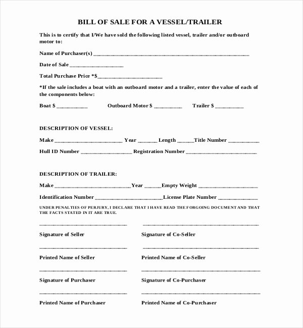 Florida Bill Of Sale Trailer Unique Free 15 Sample Boat Bill Of Sale forms In Pdf