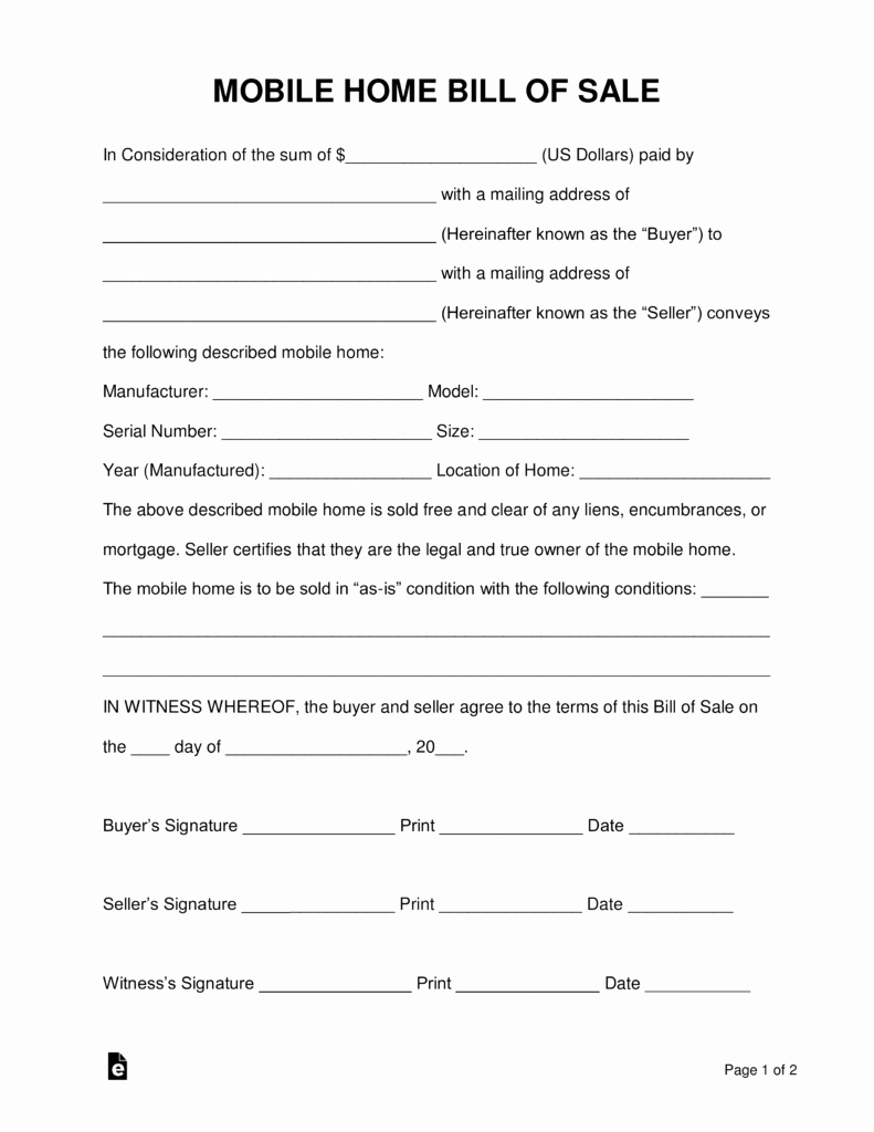 Florida Bill Of Sale Trailer Unique Free Mobile Manufactured Home Bill Of Sale form Word