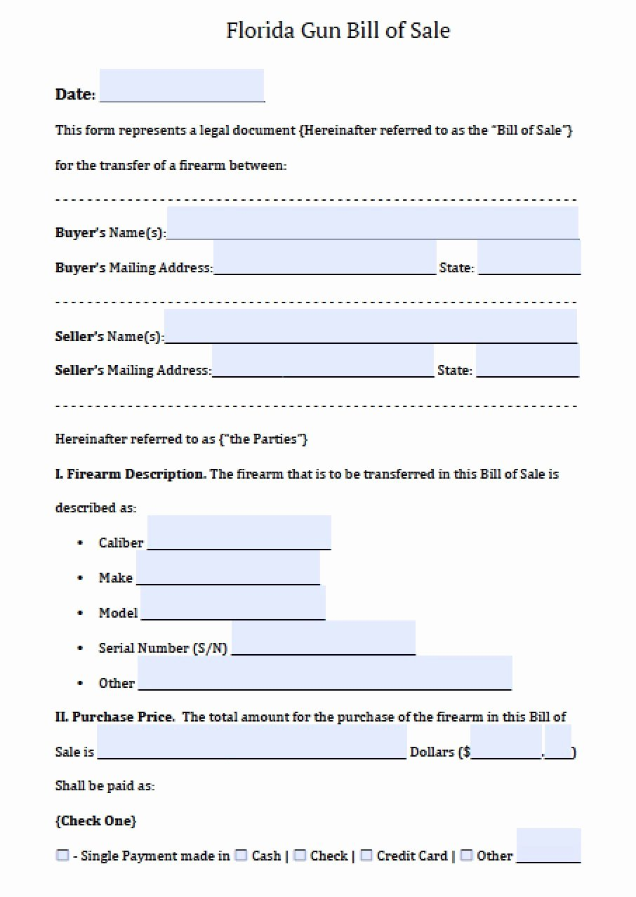 Florida Firearm Bill Of Sale Lovely Florida Concealed Weapons Permit Application form
