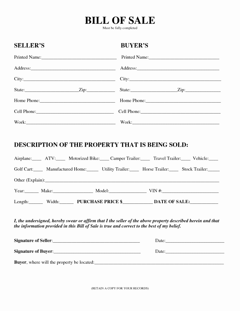 Florida Firearm Bill Of Sale Unique Free Printable Bill Of Sale for Rv form Generic