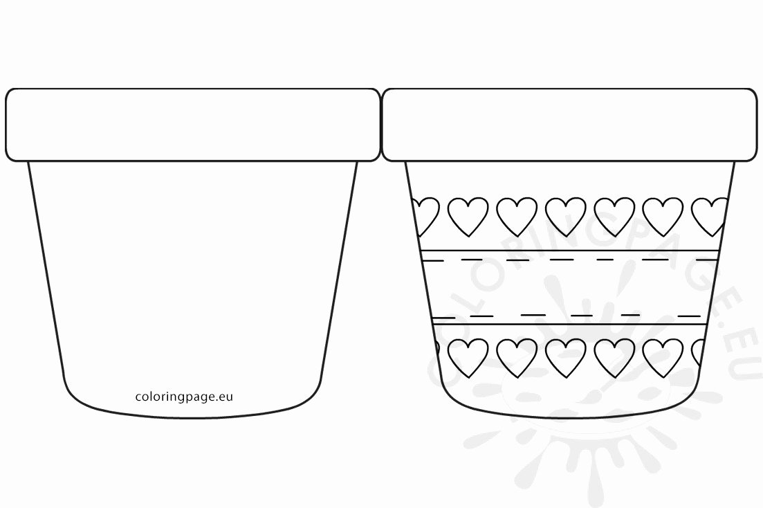 Flower Pot Template to Print Best Of Mother's Day Flower Pot with Hearts Template – Coloring Page