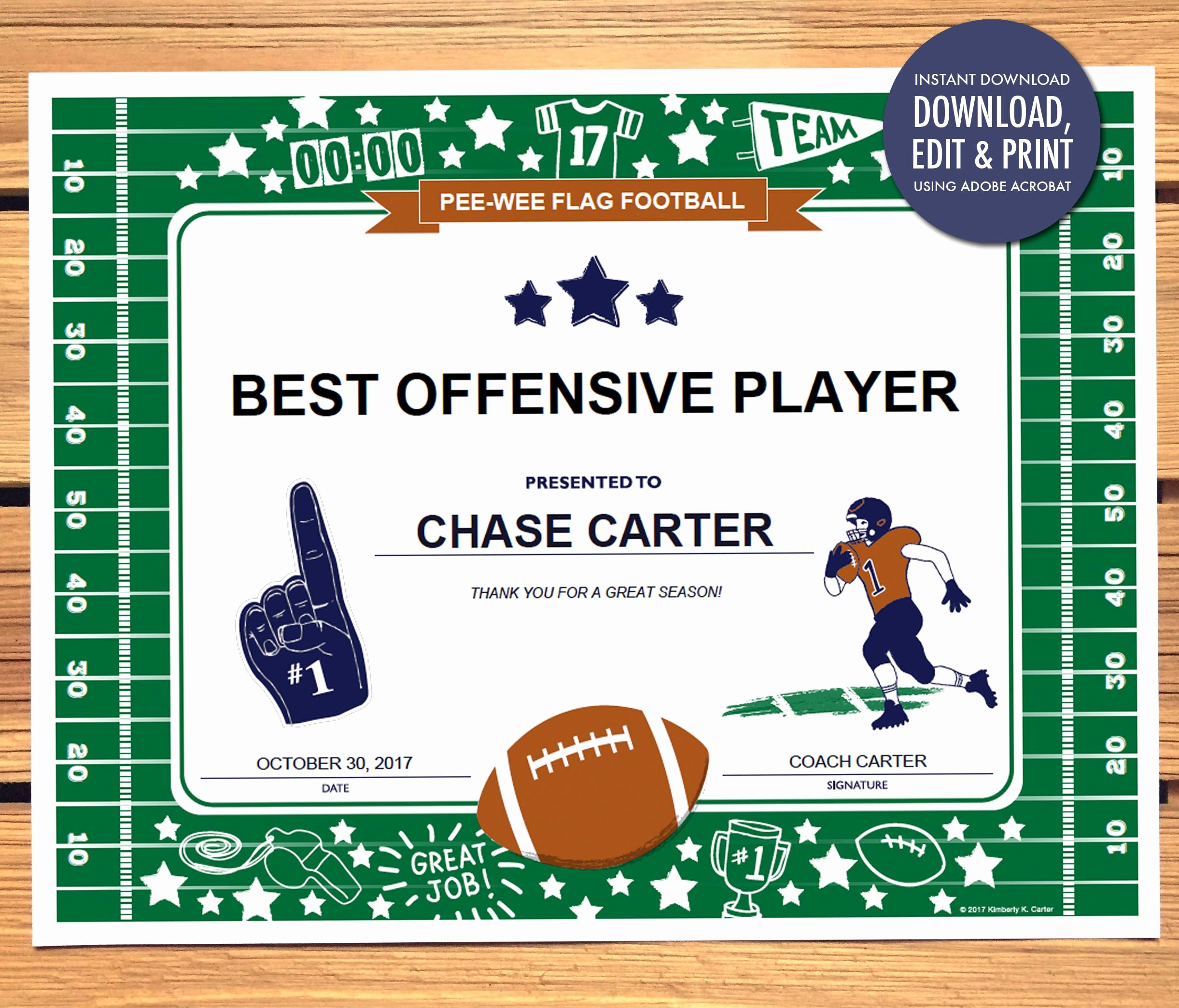 Football Award Certificate Template Awesome Instant Download Football Award Certificate Editable Pdf