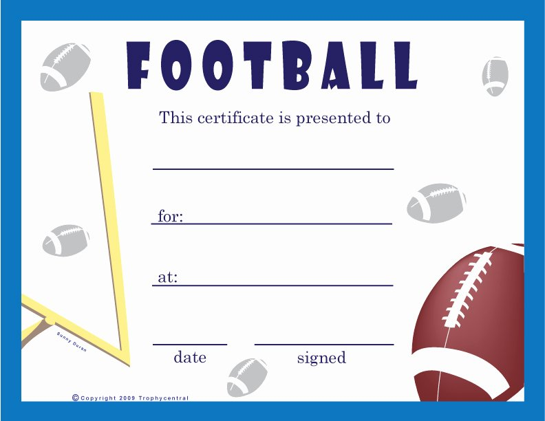 Football Award Certificate Template Beautiful Best S Of Youth Sports Certificate Templates soccer