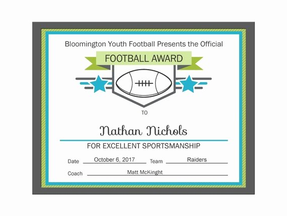Football Award Certificate Template Beautiful Editable Pdf Sports Team Football Certificate Award