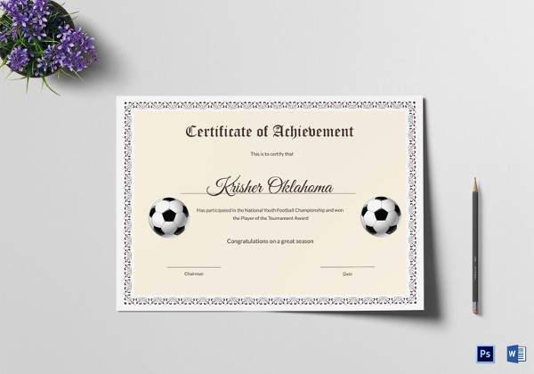 Football Award Certificate Template Best Of 17 Sample Football Certificate Templates to Download