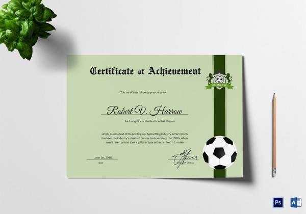 Football Award Certificate Template Best Of Free 16 Sample Football Certificate Templates In Pdf