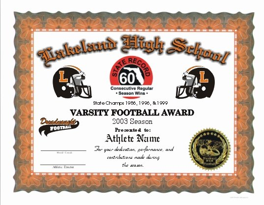 Football Award Certificate Template Best Of Full Color Certificates