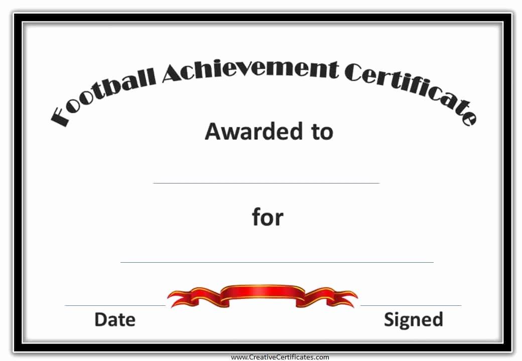 Football Award Certificate Template Fresh Free Custom Football Certificates