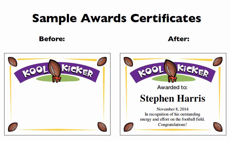 Football Award Certificate Template Inspirational Football Certificate Templates