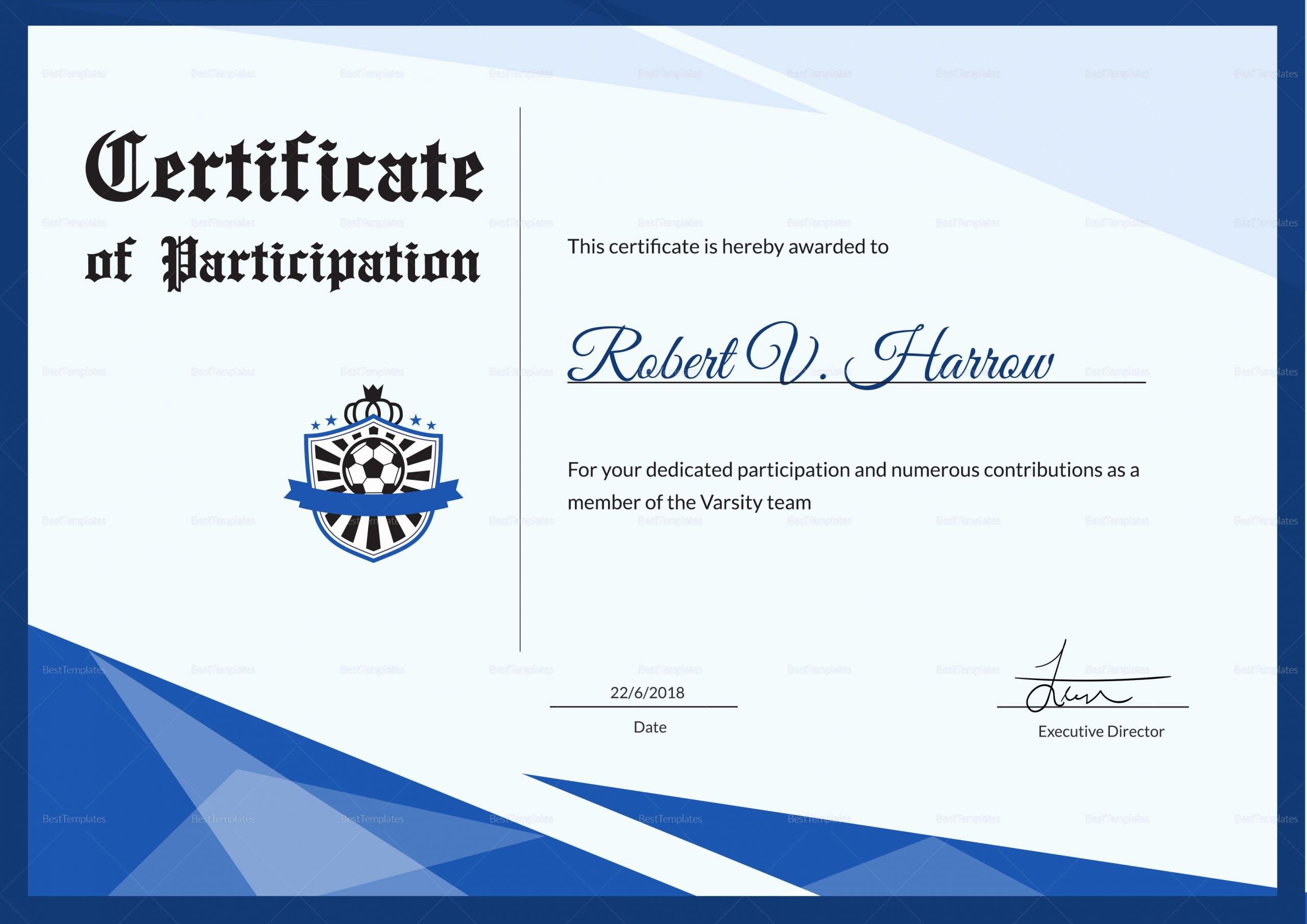 Football Award Certificate Template Lovely Football Award Certificate Design Template In Psd Word