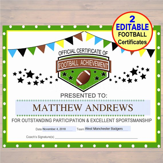 Football Award Certificate Template Unique Editable Football Award Certificates Instant Download