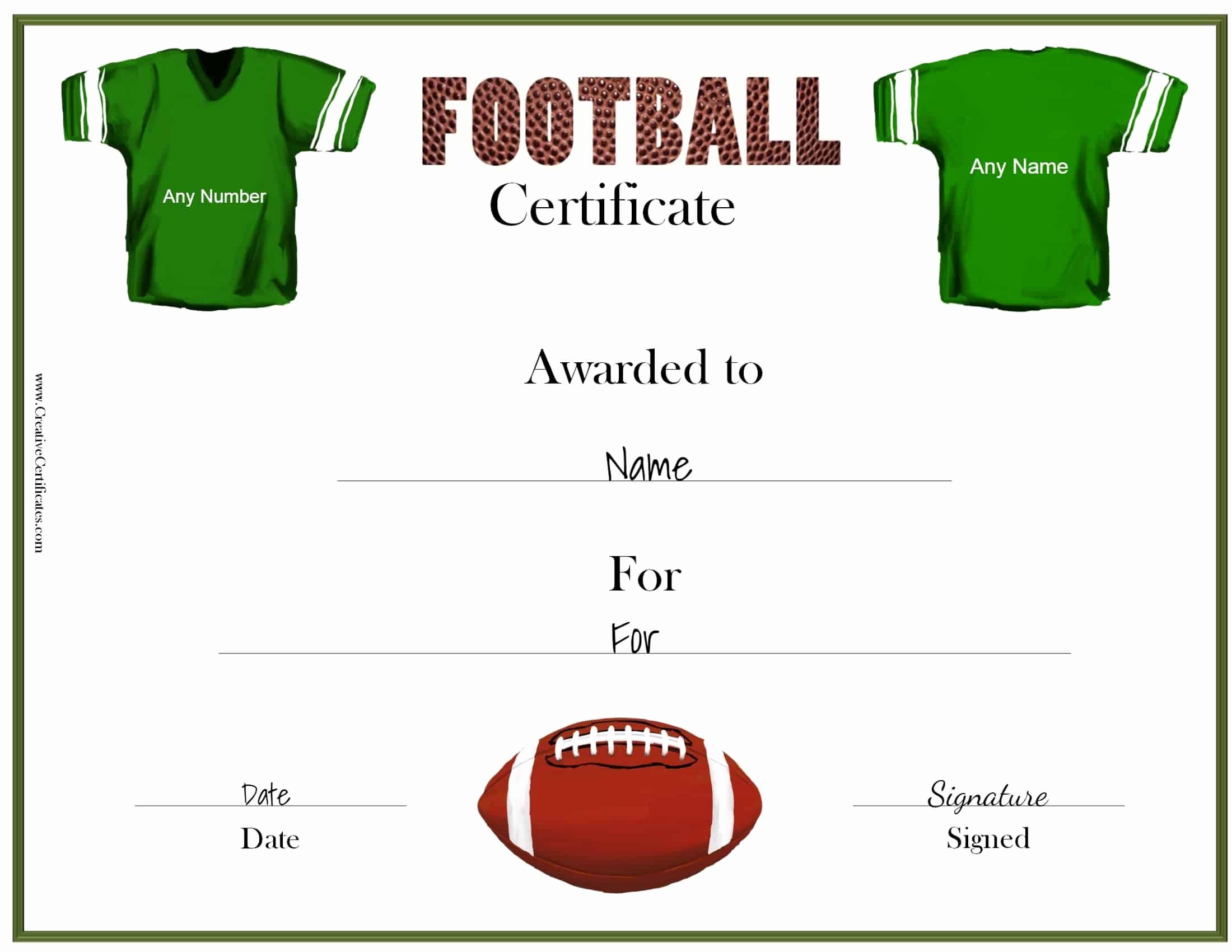 Football Certificate Template Free Beautiful Free Custom Football Certificates