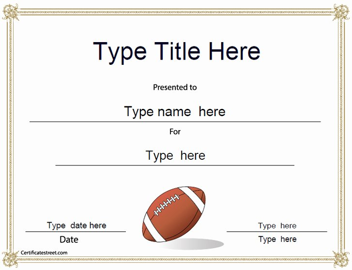 Football Certificate Template Free New Sports Certificates American Football Award Template
