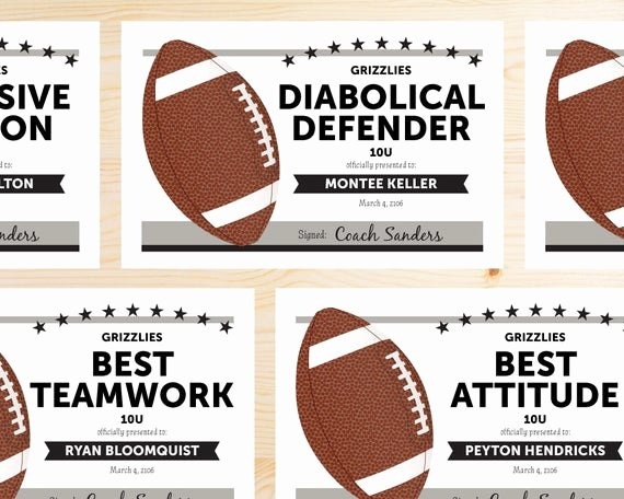 Football Certificate Template Word Awesome Editable Football Award Certificates Instant Download