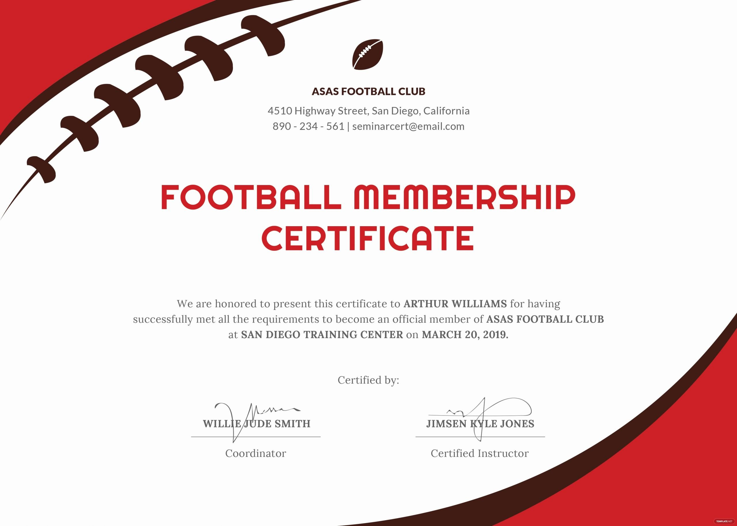Football Certificate Template Word Beautiful Free Football Certificate Template In Psd Ms Word