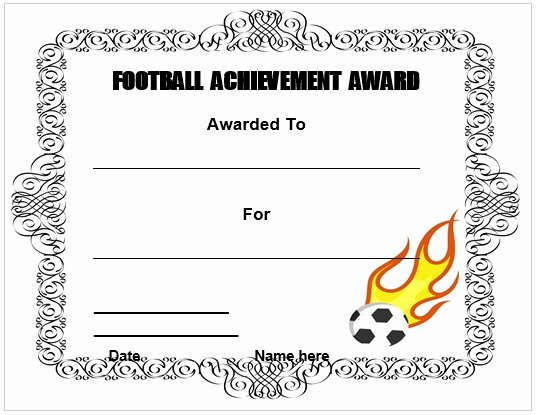 Football Certificate Template Word Elegant 28 Of Football Certificate Achievement Template