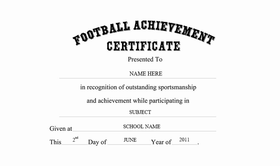 Football Certificate Template Word Lovely Football Achievement Certificate Free Templates Clip Art