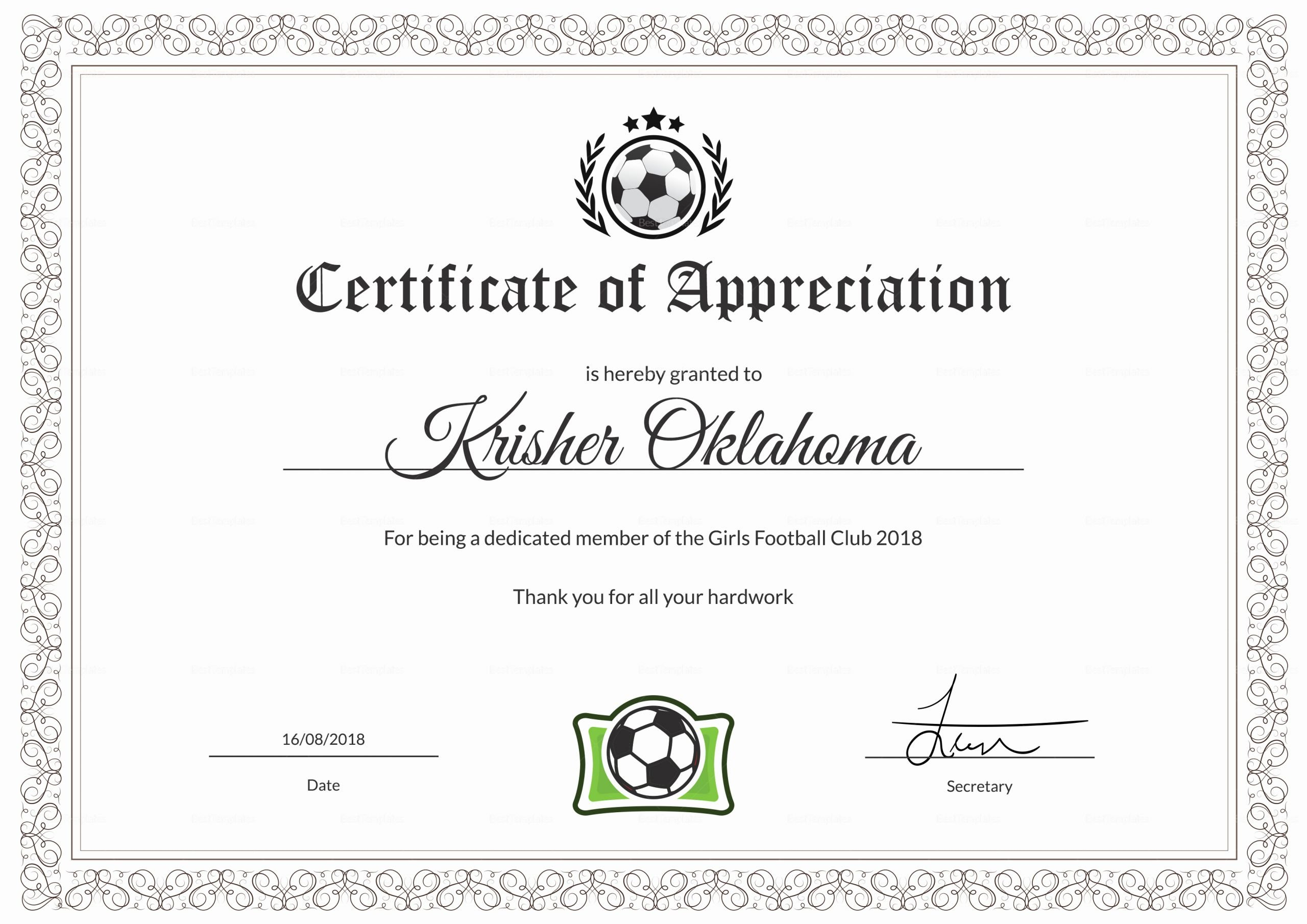Football Certificate Template Word Lovely Women Football Appreciation Certificate Design Template In