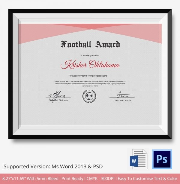 Football Certificate Template Word Luxury 10 Football Certificate Templates Free Word Pdf