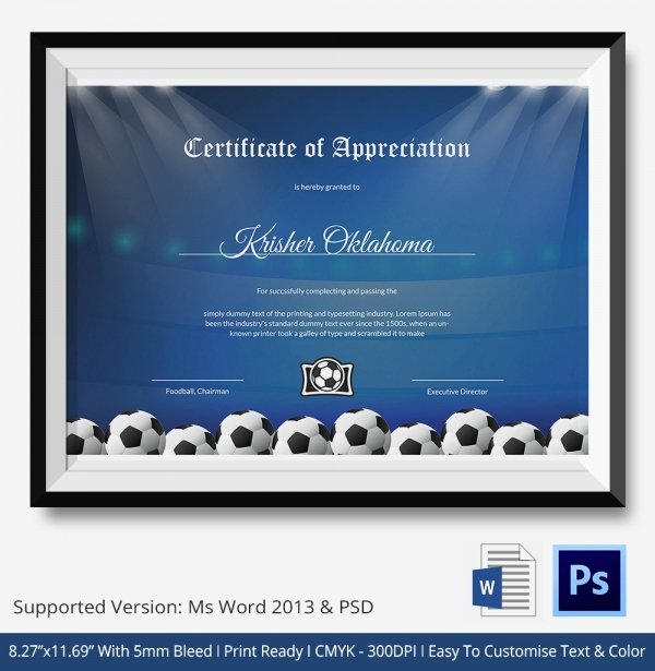 Football Certificate Template Word New 10 Football Certificate Templates Free Word Pdf