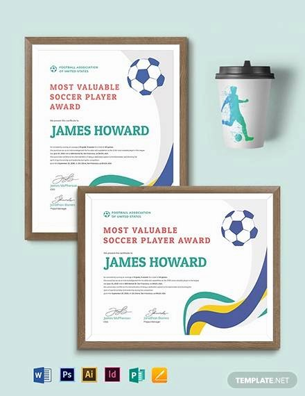 Football Certificate Template Word New soccer Certificate Template 18 Psd Ai Indesign Word